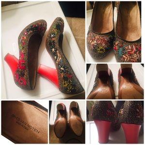 "Dries Van Noten 3"" Red Embellished Shoes 36.5EU"